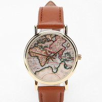 Around The World Leather Watch- Brown One