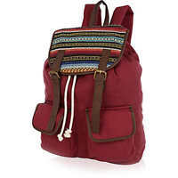 Red stripe flap rucksack