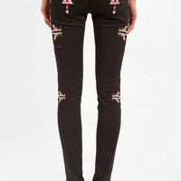 Aztec Embroidered Denim Pants $42