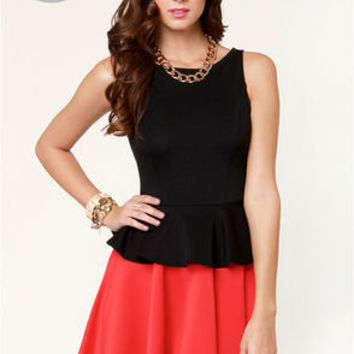 LULUS Exclusive Flare-y Tale Black and Red Dress