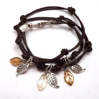 Knotted Leather Wrap Bracelet with Leaf by charmeddesign1012