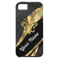Gold fleur de lys on black iPhone 5 covers from Zazzle.com