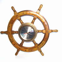 Vintage Ships Wheel Clock Wood Brass Nautical Home Decor