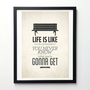 Forrest Gump Life quote poster - Life is like a box of chocolates - Retro-style typography quote art wall decor A3