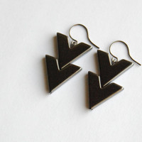 Hematite Chevron Earrings