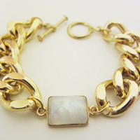 Blue Fire Moonstone & Chunky Gold Chain Bracelet