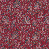 Dark Red Cotton Fabric Fat Quarter / Paisley Print