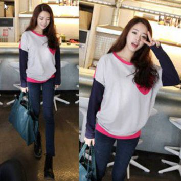 Korean Women Fashion matching colors #1034 Lady Long Sleeve T-SHIRT Sweater TOPS