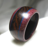 Wood Ring - Deep Blue Design with Purpleheart and Cocobolo