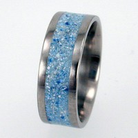 Wedding Band inlaid with Blue colored stone