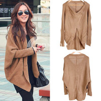 Women&#x27;s Tops Batwing Sleeves Knit Sweater Cape Ladies Coat Cardigan Brown