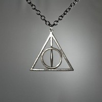 Rotating Deathly Hallows Necklace  Stainless Steel by FanaticAlley