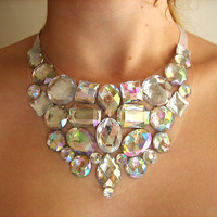 Crystal AB Rhinestone Bib Statement Necklace by Natalie52688