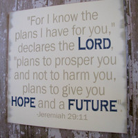 Typography Wood Sign- Christian Jeremiah 29:11- Future and Hope- Antiqued Inspiration Sign