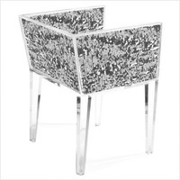 Floral Art Sequin Chair in Silver | All Modern