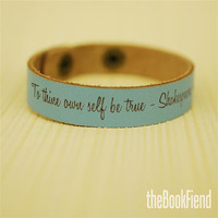 "Your favorite quote --- custom engraved 1/2"" leather bracelet CALYPSO BLUE"