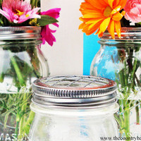 Mason Jar Flower Frog LIDS - Set of 6 - Upcycled DIY Flower Arrangers or Potpourri Lids - Wedding Bouquet or Centerpiece, Woodland, Shabby