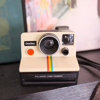 Vintage Polaroid 1970's White Rainbow Land Camera Sx70