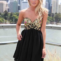 Black Strapless Dress with Sequin&Jewel Embellished Top