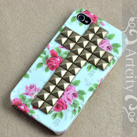 Bronze Cross Studded Iphone Case Rose Flower IPHONE 4/4S Case----for Apple iPhone 4 Case, iPhone 4s Case, iPhone 4 Hard Case