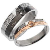 316L Titanium Steel Swiss Zircon Couple Ring - GULLEITRUSTMART.COM