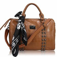 BROWN FAUX LEATHER SKULL STUD AND EMBOSSED TOTE SHOULDER BAG WITH SCARF