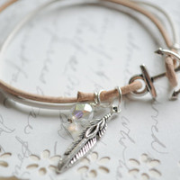 Free Spirit-Leather  Anchor Bracelet with feather and class charm