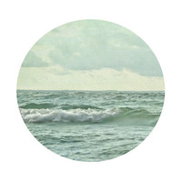 Modern Lake House Decor 8x8, Nature Photography, Round Ocean Wall Art, Circular Mint Green Wave Photo, Minimalist Beach Print