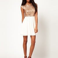 ASOS Skater Dress With Sequin T-Shirt at asos.com