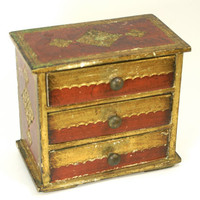 Vintage Florentine Wooden Jewelry Box Tole Painted Gilded 3 Drawer Chest Made in Italy
