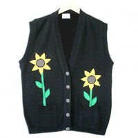 Shop Now! Ugly Sweaters: Sunflowers In My Pockets Tacky Ugly Sweater Vest Women's Plus Size 2X/3X $18 - The Ugly Sweater Shop