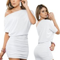 Amazon.com: Sexy White Off Shoulder Short Sleeve Mini Dress: Clothing