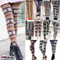 New Women's Nordic Deer Snowflake Knitted Leggings Tights Pants