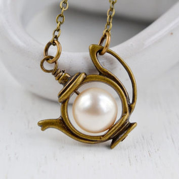 Teapot Necklace,Tea Pot Pendant,Antique Brass,Alice in Wonderland Jewelry,Swarovski Pearl Tea Pot Necklace,Charm Necklace,Earl Grey Tea Love