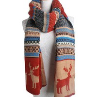 Christmas Long and Thick Knitted Scarf with Reindeer and Snow Print
