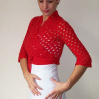 Red ballet wrap lace shrug angora bolero jacket crochet size XS, S, M