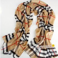 Women's Fashion Long Soft Wrap Lady Shawl Silk Grid Chiffon Scarf Super Pretty