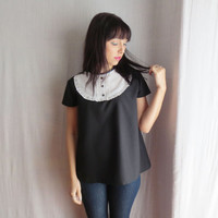 Black bib shirt - short sleeve top womens top alice in wonderland
