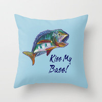 Wide Mouth Bass Throw Pillow by gretzky | Society6