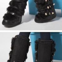 Hot Winter Fashion Warm Faux Fur Snow Boots Real Leather 2 Colour