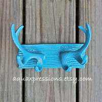 Deer Hook Antlers /Wall Hook /Shabby Chic /Turquoise /Towel Holder /Boys Room /Mancave