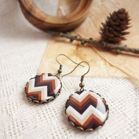 Brown ombre chevron earrings