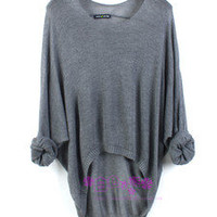 New Batwing Womens Ladies Casual Loose Asymmetric Knit Coat Top Cardigan Sweater