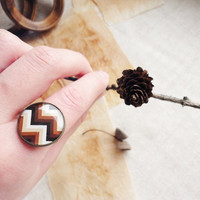 Brown chevron ring