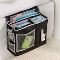 Bedside Organizer Caddy for holding items bedside is a must have dorm accessory that is space saving for guys and girls dorms