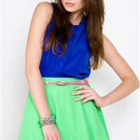 Naven Circle Skirts- Neon Green Mini skirt- $99