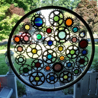 Stained glass bicycle wheel - recycled