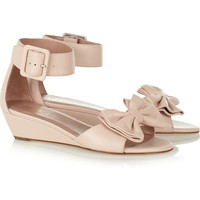 RED Valentino | Bow-embellished leather wedge sandals | NET-A-PORTER.COM