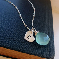Personalized birthstone necklace, initial necklace, sterling silver heart necklace, bridesmaid gifts, mothers necklace, gemstone jewelry