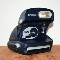 Vintage 600 Polaroid Instant Camera Blue Navy 600 Film 1970s Working Condition Guaranteed